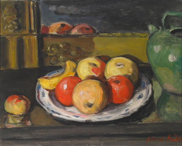 Albert André (French 1869-1954) Pommes dans une Assiette sur une Cheminée 12¾ x 16in (32 x 41cm)