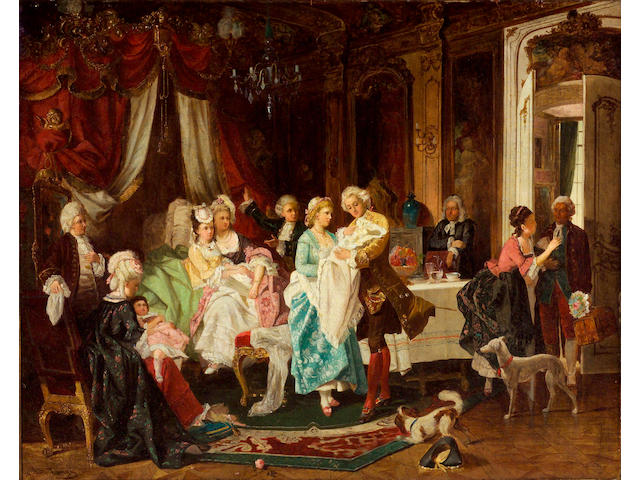 N.H. Ivanyi (Hungarian 19th century) The Christening of the Dauphin 25 x 21 3/4in