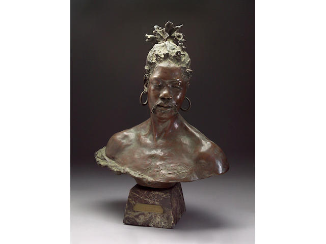 A French patinated bronze bust of an Arab: Negre Du Tombouctou