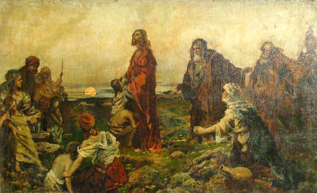 Spanish School (19th/20th century) Christ amongst his followers 20 1/4 x 32 1/2in
