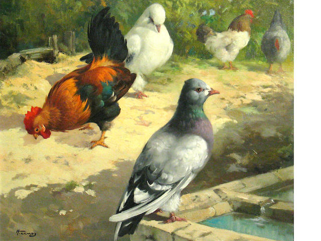 H. Camos (French 20th century) Chickens and pigeons at a water trough 18 x 22in