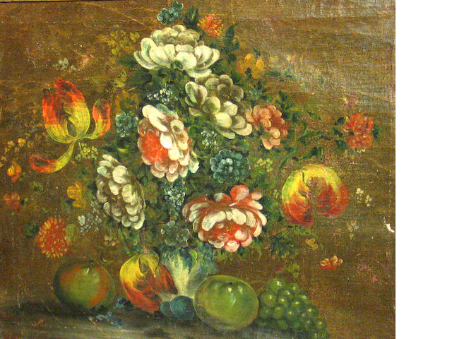 Continental School (early 20th century) A still life with fruits and flowers 18 x 21 3/4in