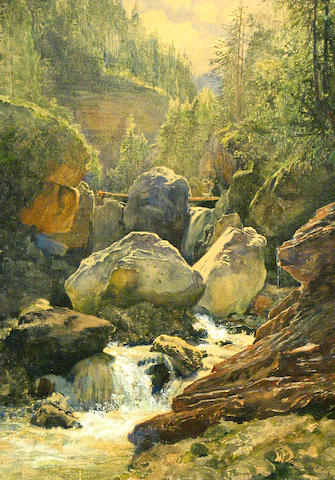 Hugo Charlemont (Austrian 1850-1939) A view of a rushing river through a ravine 20 x 14 1/2in