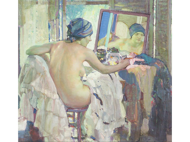 Richard E. Miller (1875-1943) Reflections at the Dressing Table 31 x 32in
