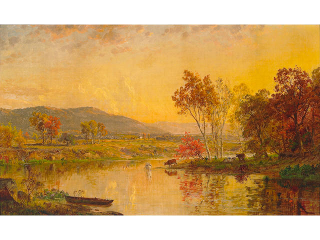 Jasper Francis Cropsey (1823-1900) An Autumn Landscape with Cattle Watering at a River, 1881 12 x 20in