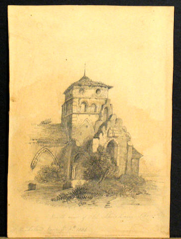 Group of five 19th century drawings on paper