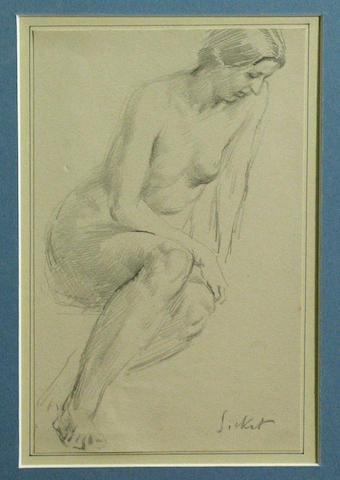 Walter Sickert (British 1860-1942) A female nude 7 1/2 x 4 3/4in
