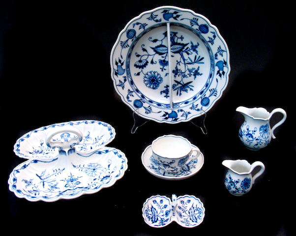 An assembled collection of blue and white Meissen porcelain china