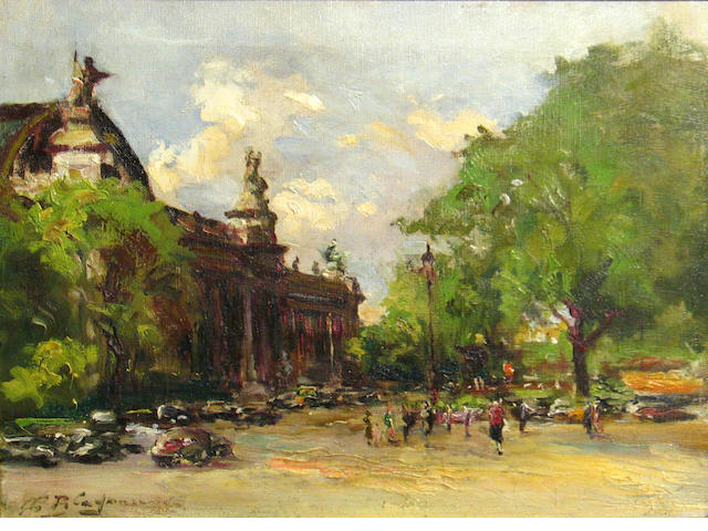 Continental School (20th century) A view of the Grand Palais, Paris 13 x 17in