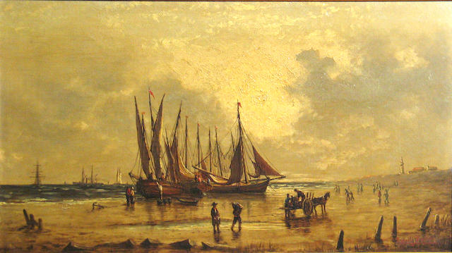 Ernest Baker (European late 19th/early 20th century) Fishing boats unloading on the shore 13 1/4 x 24in
