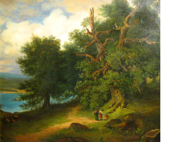 Attributed to Fritz Bamberger (German 1814-1873) Figures on a path in a wooded landscape 35 1/2 39 1/2in