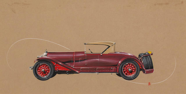 A rare original coachwork design painting by Alexis de Sakhnoffsky, 9 x 17in