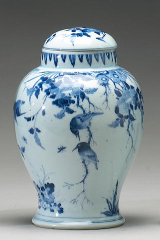 A blue and white porcelain covered jar Shunzhi Mark and Period