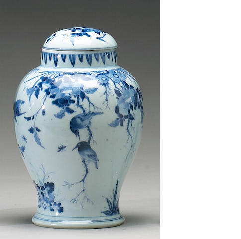 A blue and white porcelain covered jar  Shunji Mark and Period