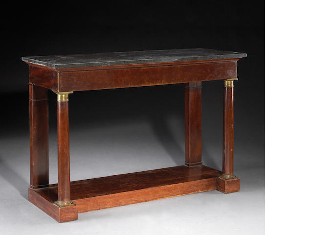 An Empire gilt bronze mahogany console