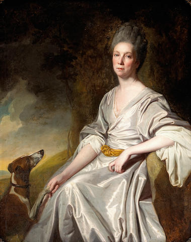 George Romney (British 1734-1802) A portrait of Mrs. Horton seated in a landscape with a greyhound at her feet 50 x 40in (127 x 101.5cm)