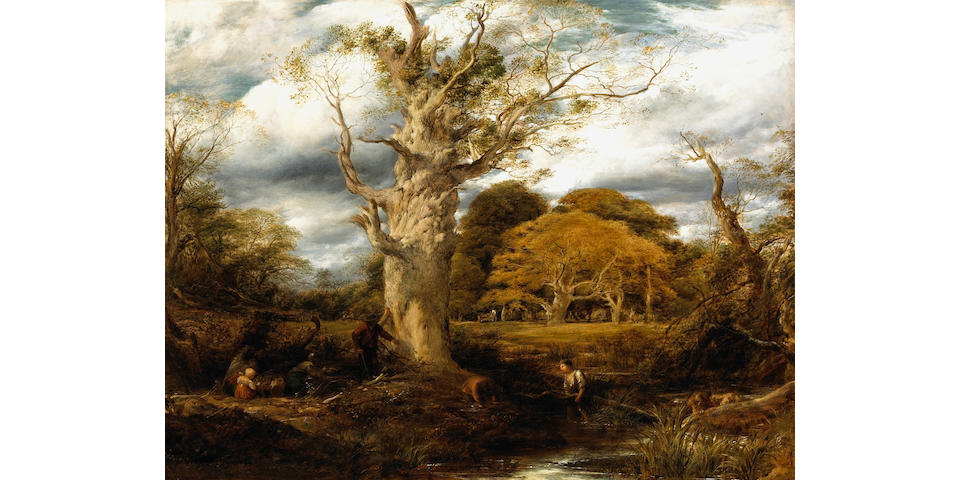 John Linnell (British 1792-1882) A large oak tree in a landscape with figures and children gathering wood 28 x 36in (71.1 x 91.4cm)