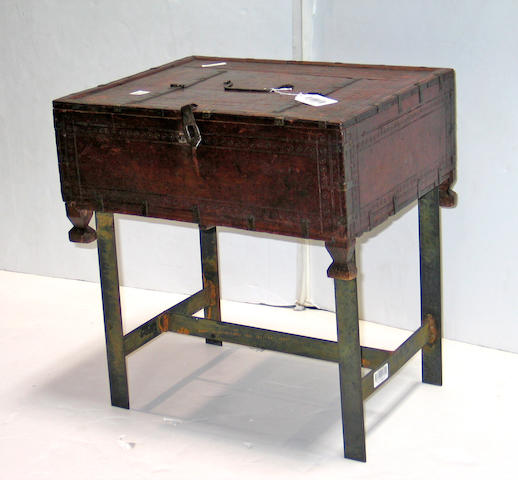 A Continental Baroque walnut box on later stand