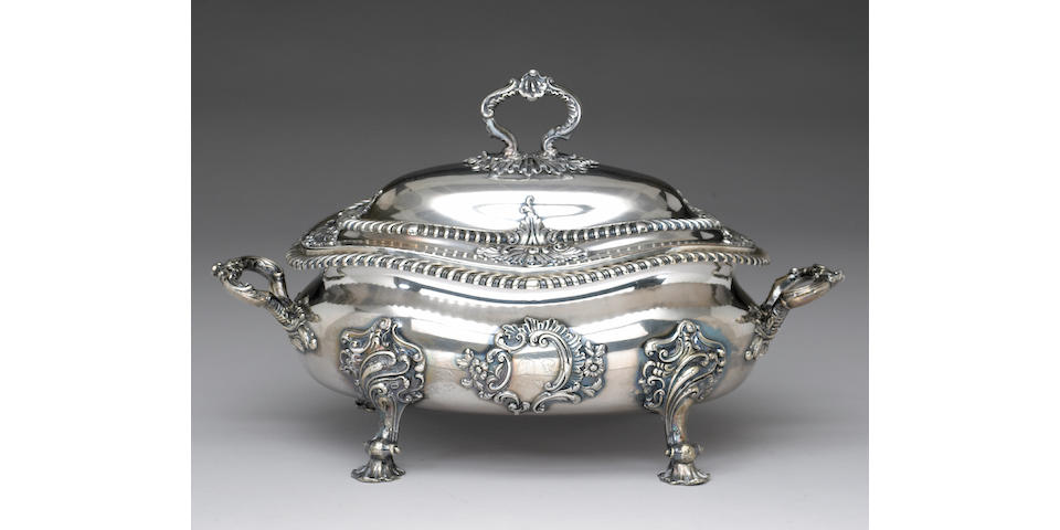 Sheffield Plate Soup Tureen with Cover and Liner