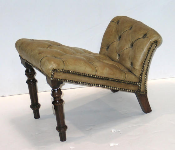 A Victorian walnut leather upholstered stool