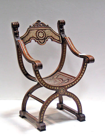 An Italian Renaissance style  certosina shell inlaid walnut arm chair