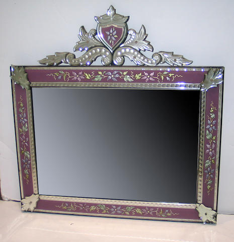 A Venetian Baroque style clear and colored etched glass mirror