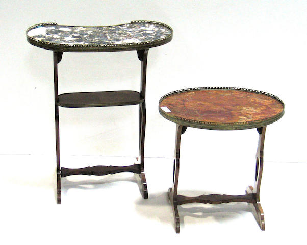 A Louis XVI style gilt bronze mounted videpoche table and a similar Louis XVI style side table