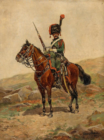 Edouard Jean Baptiste Detaille (French 1848-1912) A mounted chasseur of the Imperial Guard 12 1/4 x 9 1/2 (31.1 x 24.2cm)