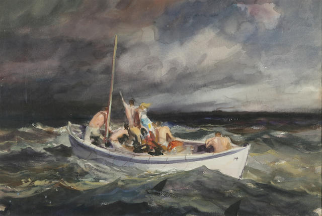 John Whorf (1903-1959) The Fisherman in the Squall 15 x 21 1/2in