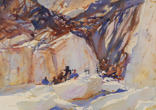 John Whorf (1903-1959) Quarryworkers 16 1/4 x 22 1/2in