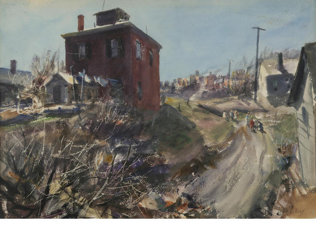 John Whorf (1903-1959) April and Red House Student: two  15 1/4 x 21 3/4in; sight 15 1/4 x 18 1/4in