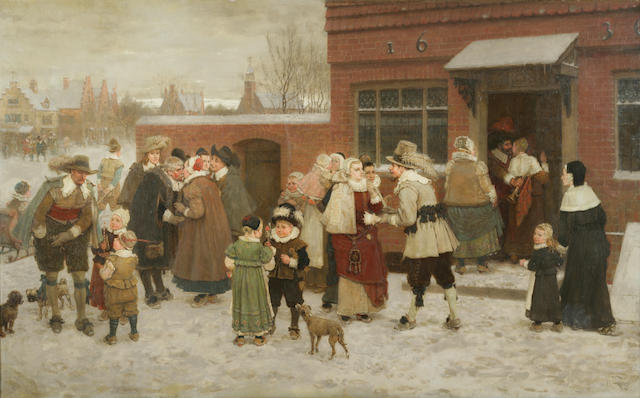 George Henry Boughton (1833-1905) Party for New Year's Day in New Amsterdam 39 1/2 x 63 1/2in