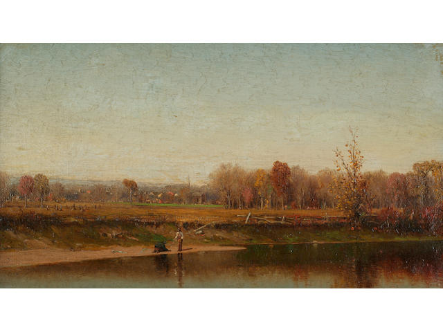 Jervis McEntee (1828-1921) Esopus Creek 14 1/8 x 8 1/8in