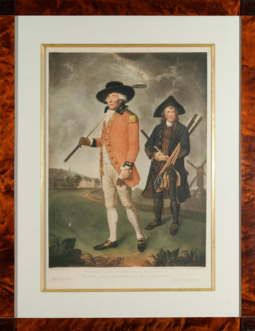 Abbot: The Blackheath Golfer, an early colored edition, in custom frame with matt and gold fillet decoration.