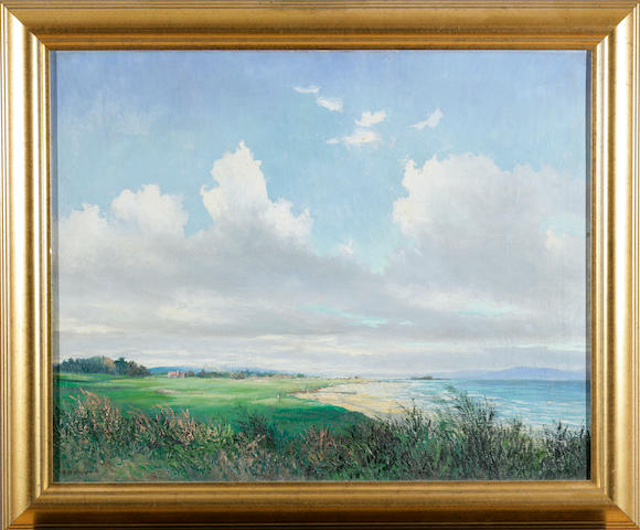 Woods, F. W.: Carnoustie Golf Club, circa 1920s, signed, oil on canvas, framed.  19 ½ x 15 ½in