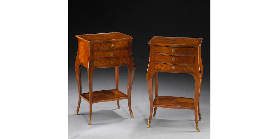 A pair of Louis XV gilt bronze mounted marquetry and kingwood tables en chiffonnière