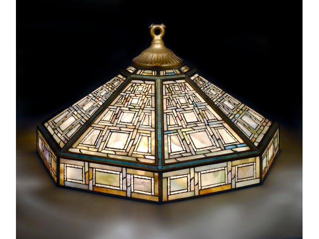 A very rare Tiffany Favrile mosaic and leaded glass octagonal chandelier