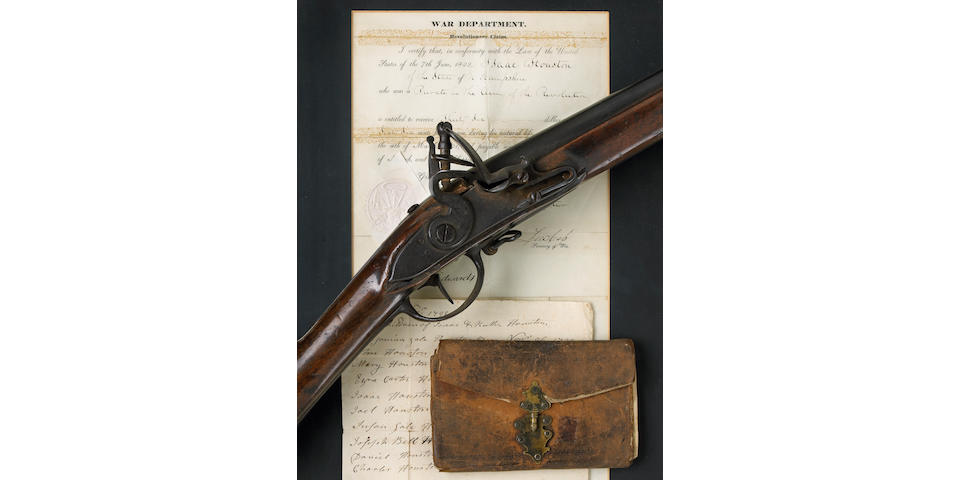 An historic flintlock musket carried by Isaac Houston during the Revolutionary War