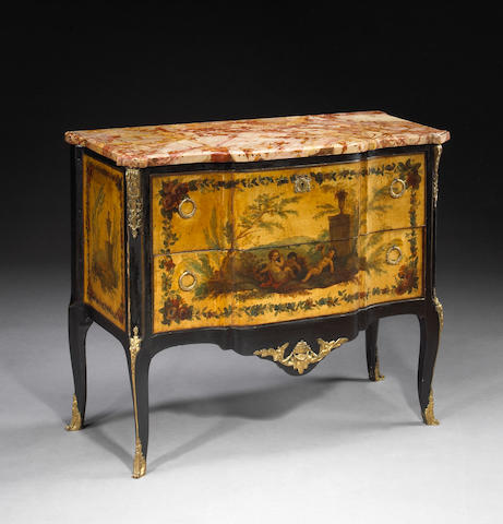 A Louis XVI transitional style gilt bronze mounted paint decorated and ebonized commode