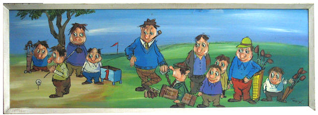 An oil on board painting of golfers waiting to tee off, by the famous orchestra leader, Zavier Kugat. 24 ½ x 15in