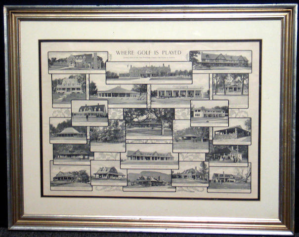 'Where Golf Is Played', a mono magazine centerfold from the late 19th century showing some of the most picturesque County Club Houses in America, ex Ralph. W. Miller Golf Library, framed and glazed. 21 x 15 ½in