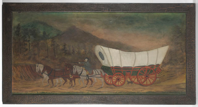 American School, 19th century A Conestoga wagon on the trail 26 1/4 x 54in