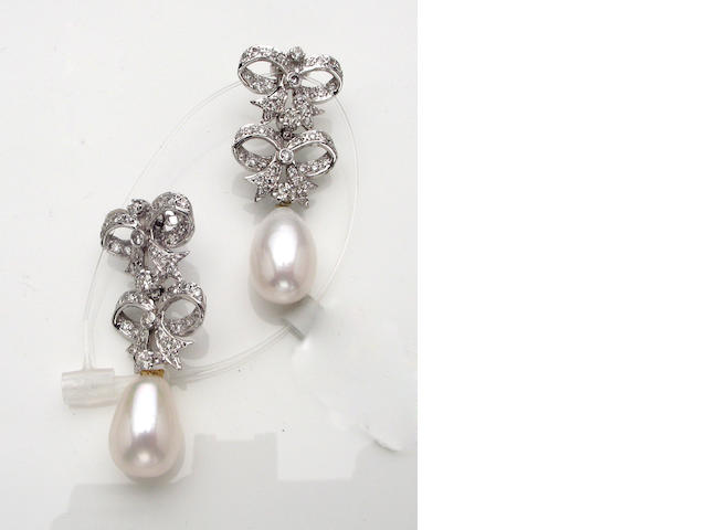 A pair of diamond, freshwater cultured pearl and 18k white gold earrings