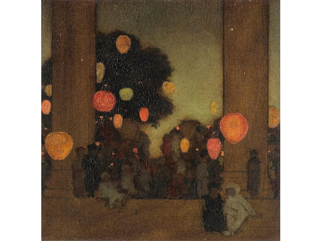 Maxfield Parrish (1870-1966) Lanterns at Twilight 8 x 8in