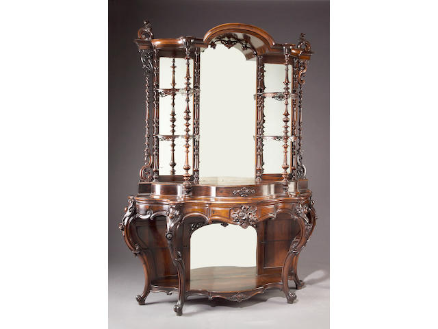 An American Rococo Revival rosewood étagère