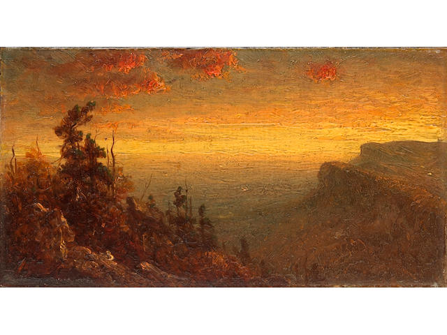 Sanford Robinson Gifford (1823-1880) Study for Twilight in the Shawangunk Mountains 4 1/4 x 8 1/4in