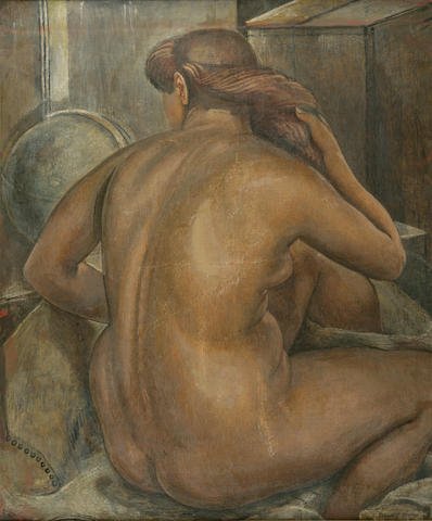 Isabel Bishop (American, 1902-1988) Nude 36 x 30in