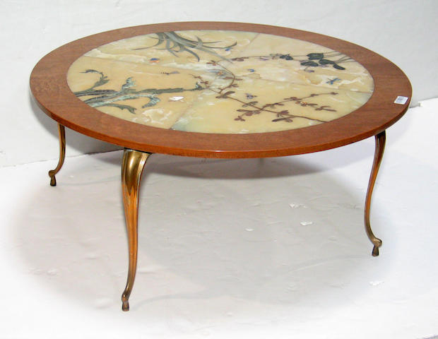 A Rococo style speciman marble and gilt metal low table