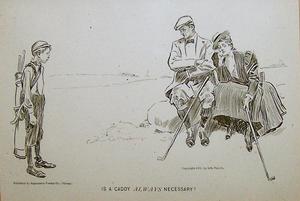 Hopkins: Westward Ho, from The Graphic, dated October 17 1874, measuring 14 ¾ x 9 ¼in together with a C.D. Gibson 'Is a Caddie Necessary?' measuring 6 ¼ x 4 ½in (2)
