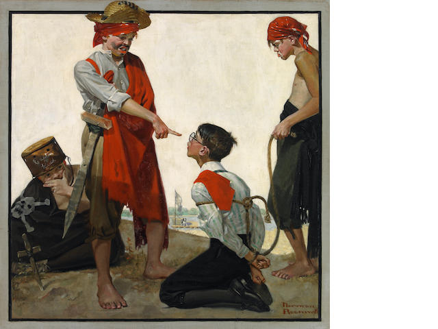 Norman Percevel Rockwell (1894-1978) Cousin Reginald Plays Pirates 30 x 30in